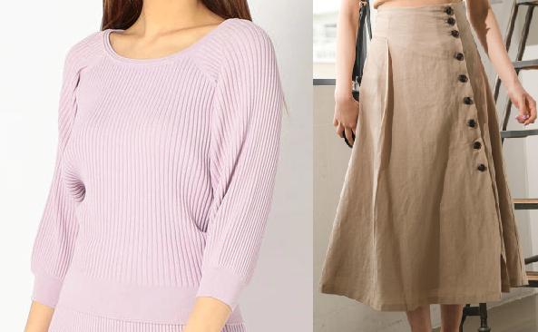 吉高由里子『わたし定時で帰ります』第10話着用ラベンダー色のニットとベージュのスカート