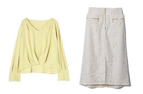 吉高由里子『わたし定時で帰ります』第10話着用黄色いブラウスと白レーススカート