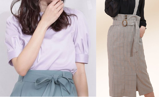 わたし定時で帰ります第7話-吉高由里子着用ラベンダー色のトップスとチェックのスカート