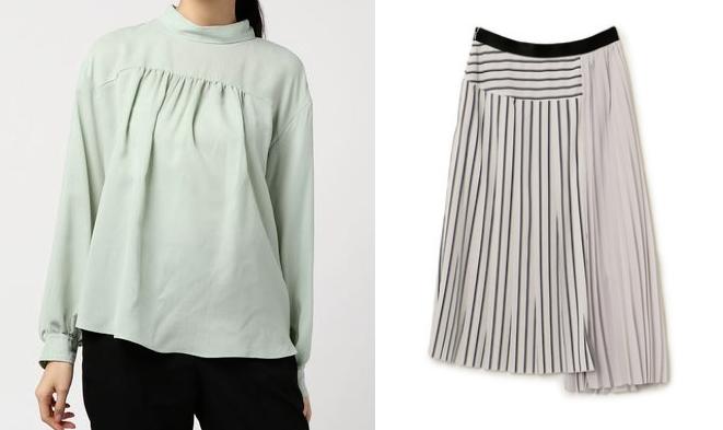 吉高由里子ドラマ着用NINEのデシンプリーツスカートとライトグリーンのトップスのコーデ